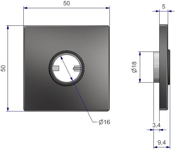 Flachrosette Vierkant 50x50x5mm mit unidirektionaler Hochhaltefeder für Türdrücker