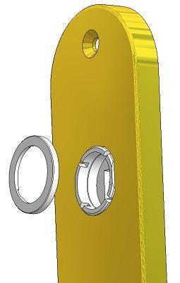 Rückholmechansimus mit Hochhaltefeder für Montage Türdrücker auf Schild oder Rosette
