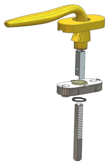 Montaggio maniglia per finestra con rosetta con movimento DK, riduzione e ferro zigrinato