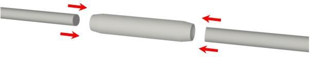 Giunzioni per tondi in vetroresina per tende steccate a pacchetto