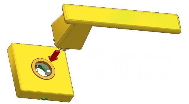 Rosetta quadra con molla dx-sx per aggancio a scatto reversibile della maniglia per porta