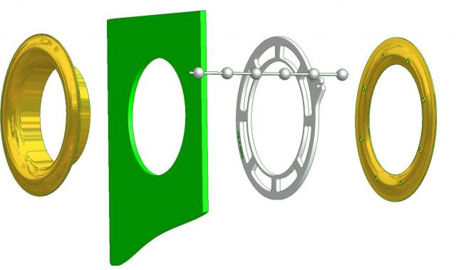 Example metal eyelet ring with shim ring and ball chain for perfect wave effect Esempio anello occhiello metallo con ghiera onda tende tenda interne tendaggi effetto ad onda onde perfette wave effect anelli occhielli