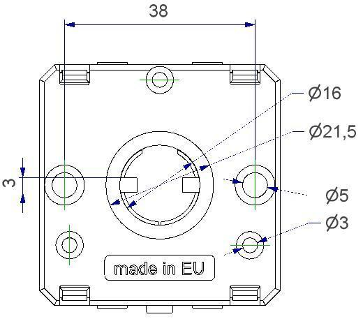 Rosetta quadra 50x50x10 mm, con molla dx-sx, per aggancio a scatto reversibile della maniglia