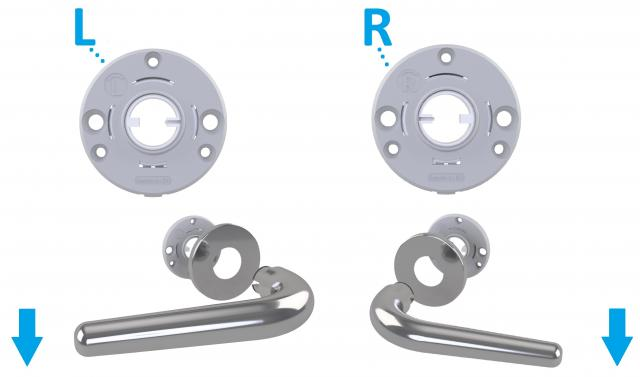 Round flat roses with unidirectional return spring for door handles