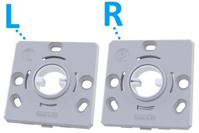 Rosetas planas quadradas com mola de retorno unidirecional para puxadores