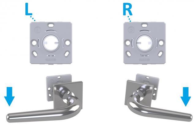 Flachrosetten Vierkant 50x50x5mm mit unidirektionaler Rückholfeder für Türdrücker