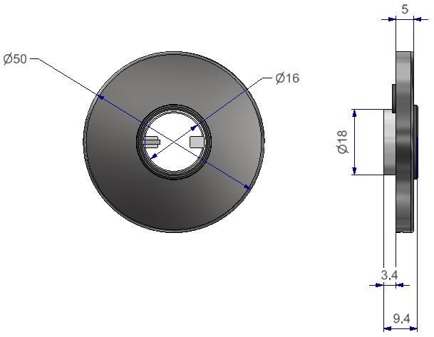 Runde Rosetten d 50x5mm mit unidirektionaler Feder