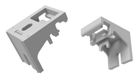 Wandsteun en plafondsteun voor gordijnrails type I